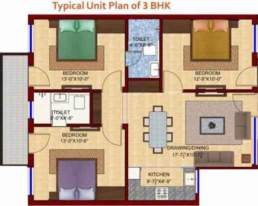 Galaxy Palm 25 (3BHK+2T (1,150 sq ft) Apartment 1150 sq ft)
