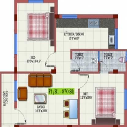 Kaaviya Anbu (2BHK+2T (870 sq ft) Apartment 870 sq ft)