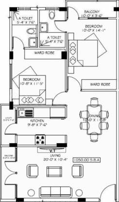 Taproot Brick Post (2BHK+2T (1,050 sq ft) Apartment 1050 sq ft)