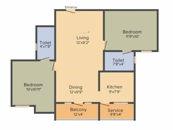 Raunaq The Courtyard (2BHK+2T (1,000 sq ft) Apartment 1000 sq ft)