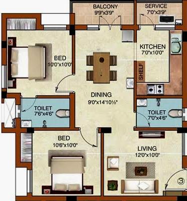 Raunaq The Courtyard (2BHK+2T (1,063 sq ft) Apartment 1063 sq ft)