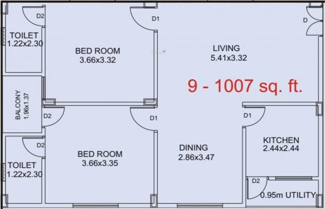 BVL Aakanksha (2BHK+2T (1,007 sq ft) Apartment 1007 sq ft)