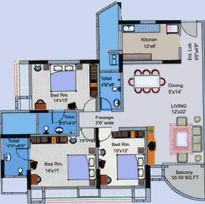 Rustomjee Adarsh Excellency Floor Plan (3BHK+3T)