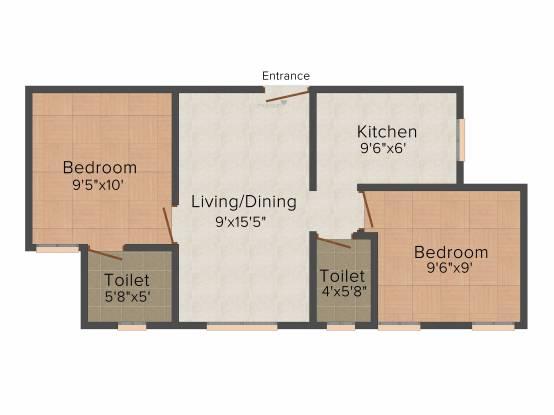 Pushkar Jayalakshmi (2BHK+2T (615 sq ft) Apartment 615 sq ft)