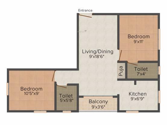Pushkar Jayalakshmi (2BHK+2T (755 sq ft) + Pooja Room Apartment 755 sq ft)