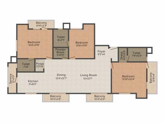 Pushkar Grace (3BHK+4T (1,925 sq ft) + Pooja Room Apartment 1925 sq ft)