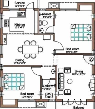 Pushkar JK Gardens (2BHK+2T (1,076 sq ft) + Pooja Room Apartment 1076 sq ft)