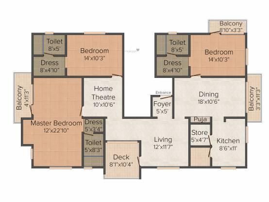 Pushkar Tarisha (3BHK+3T (2,265 sq ft) + Pooja Room Apartment 2265 sq ft)