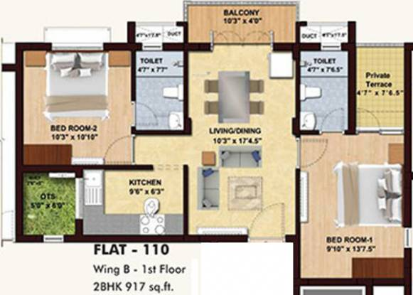 BBCL Midland (2BHK+2T (917 sq ft) Apartment 917 sq ft)