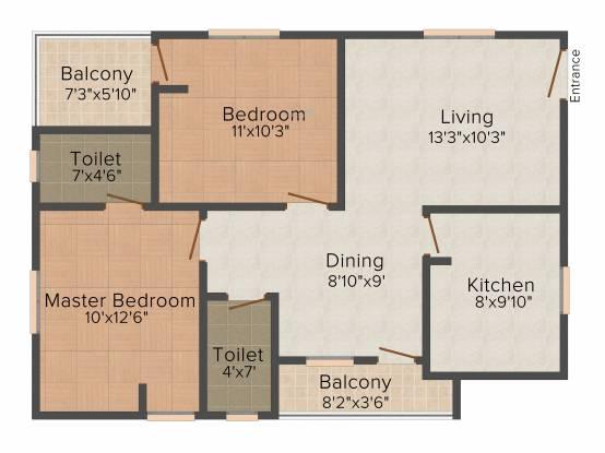 TMR Tulips (2BHK+2T (945 sq ft) Apartment 945 sq ft)