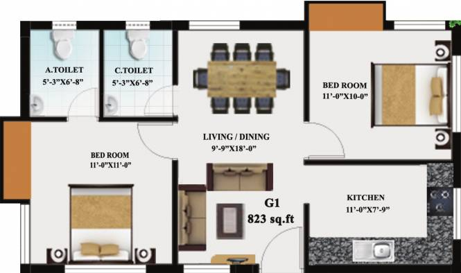 Haarini Akshaya (2BHK+2T (823 sq ft) Apartment 823 sq ft)