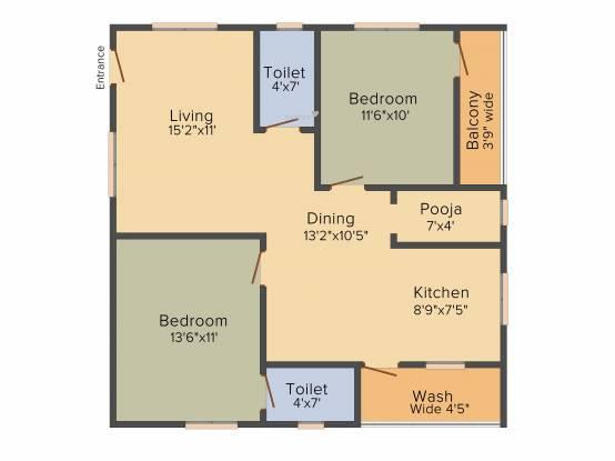 Prem Prem Sarovar (2BHK+2T (1,170 sq ft) + Pooja Room Apartment 1170 sq ft)