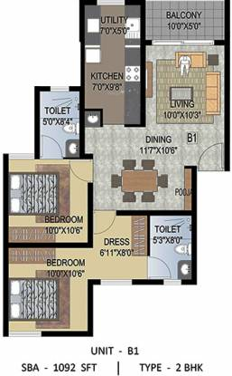 Uniworth Serenity (2BHK+2T (1,092 sq ft) + Pooja Room Apartment 1092 sq ft)