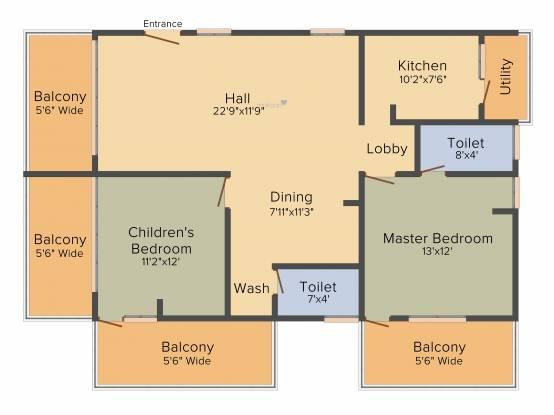 Venkys Varanasi Varasiddhi (2BHK+2T (1,545 sq ft) Apartment 1545 sq ft)