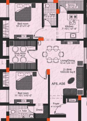 GP Freesia (2BHK+2T (1,033 sq ft) + Study Room Apartment 1033 sq ft)