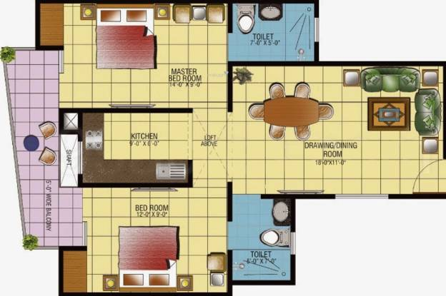 Gaursons Gaur Ganga (2BHK+2T (985 sq ft) Apartment 985 sq ft)