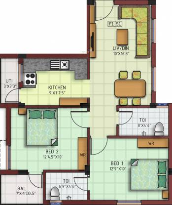 AV Vijayam (2BHK+2T (885 sq ft) Apartment 885 sq ft)