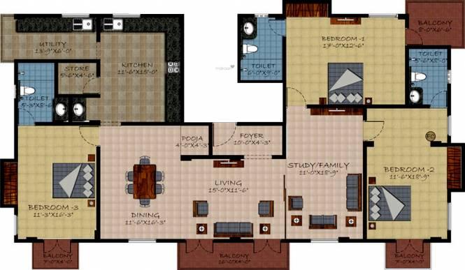 Sumanth Sreshta Maithri (3BHK+3T (2,275 sq ft) + Study Room Apartment 2275 sq ft)