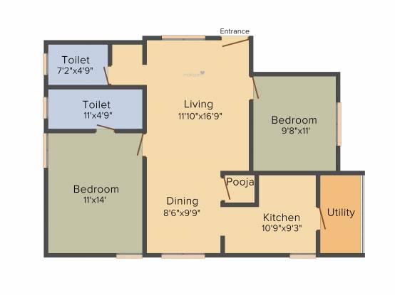 Sagar Spring (2BHK+2T (1,050 sq ft) + Pooja Room Apartment 1050 sq ft)