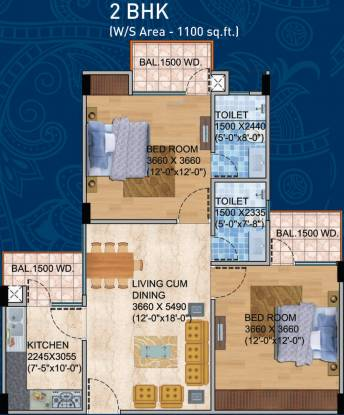 Balaji BCC Blue Mountain (2BHK+2T (1,100 sq ft) Apartment 1100 sq ft)