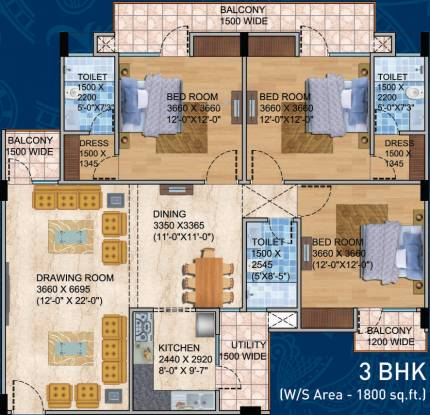 Balaji BCC Blue Mountain (3BHK+3T (1,800 sq ft) Apartment 1800 sq ft)