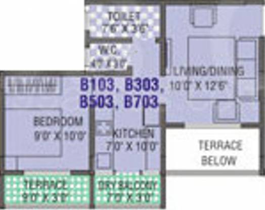 Cidco NRI Complex (1BHK+1T (495 sq ft) Apartment 495 sq ft)