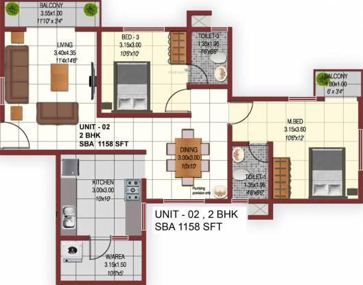 Confident Phoenix (2BHK+2T (1,158 sq ft) Apartment 1158 sq ft)