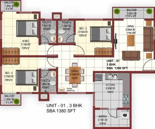 Confident Phoenix (3BHK+3T (1,380 sq ft) Apartment 1380 sq ft)
