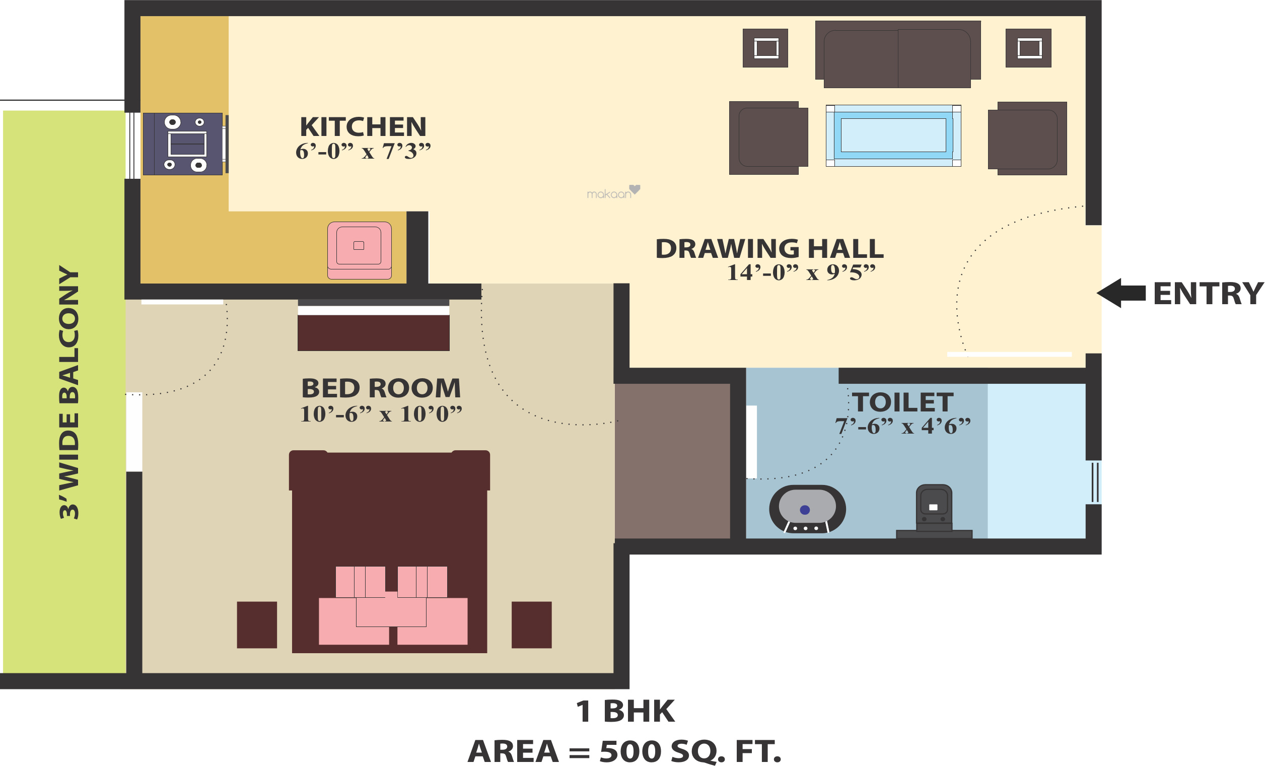 How big is 500 square feet apartment view full size How big is 500 square feet