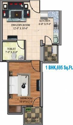 Dev Hitaishi Heights (1BHK+1T (695 sq ft) Apartment 695 sq ft)