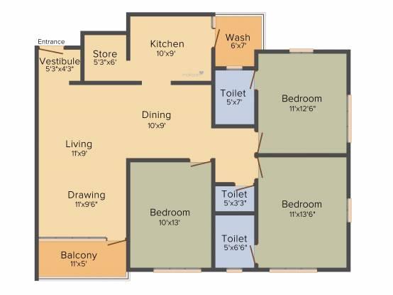 Arjun Spacia (3BHK+3T (2,061 sq ft) Apartment 2061 sq ft)