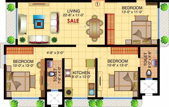 Shamiks Niramaya CHS Ltd (3BHK+2T (879.95 sq ft) Apartment 879.95 sq ft)