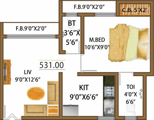 Rashmi Smaart Homes Mira Road (1BHK+2T (531 sq ft) Apartment 531 sq ft)