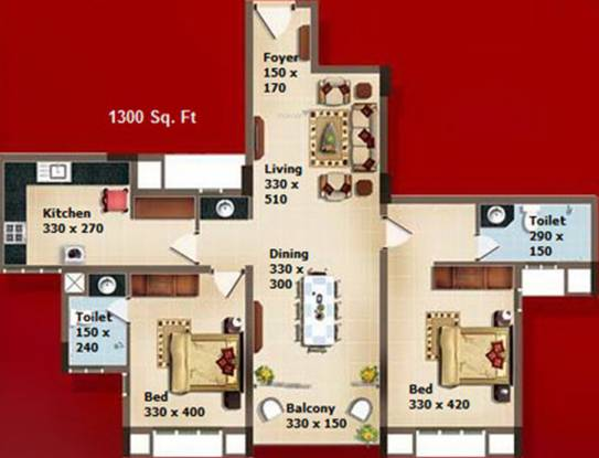 SFS Kingdom (2BHK+2T (1,300 sq ft) Apartment 1300 sq ft)