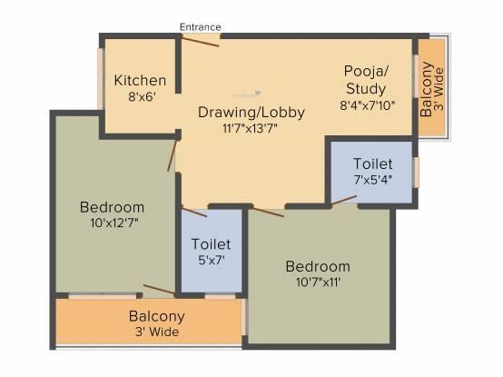 Jai Shree Balaji Infra Sukhdham Residency (2BHK+2T (1,008 sq ft) Apartment 1008 sq ft)