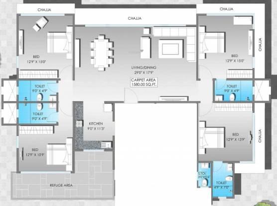 S Raheja Shree Pooja (4BHK+5T (1,580 sq ft) Apartment 1580 sq ft)