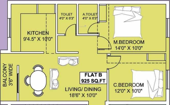 Thulasi Manoj Citadel (2BHK+2T (925 sq ft) Apartment 925 sq ft)