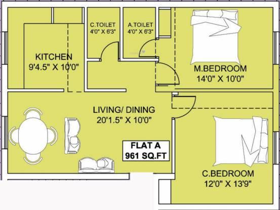Thulasi Manoj Citadel (2BHK+2T (961 sq ft) Apartment 961 sq ft)