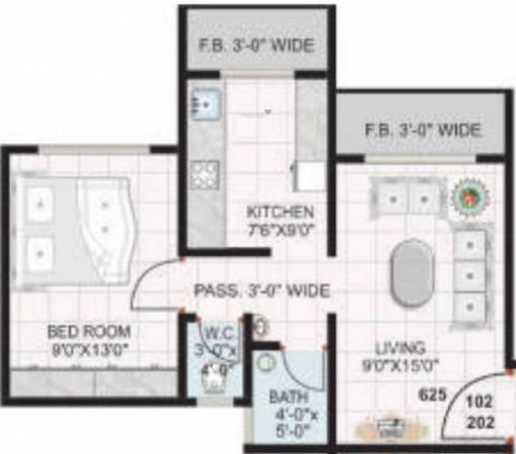 Jashnani Blossom (1BHK+1T (625 sq ft) Apartment 625 sq ft)