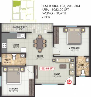 Saranya Samruddhi (2BHK+2T (1,053 sq ft) Apartment 1053 sq ft)