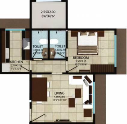 Reliable Homemakers Ankit Grande Floor Plan (1BHK+1T)