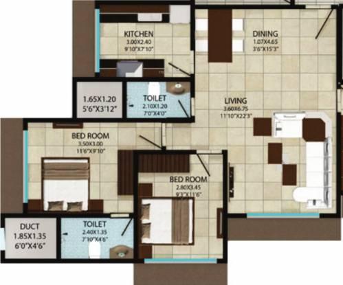 Reliable Homemakers Ankit Grande Floor Plan (2BHK+2T)