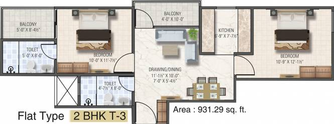 Dhanuka Sunshine Aditya (2BHK+2T (931 sq ft) Apartment 931 sq ft)