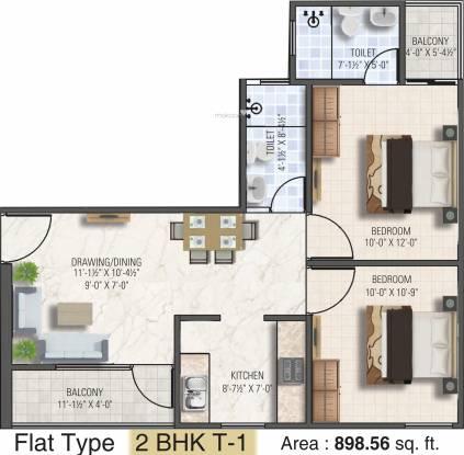 Dhanuka Sunshine Aditya (2BHK+2T (898 sq ft) Apartment 898 sq ft)