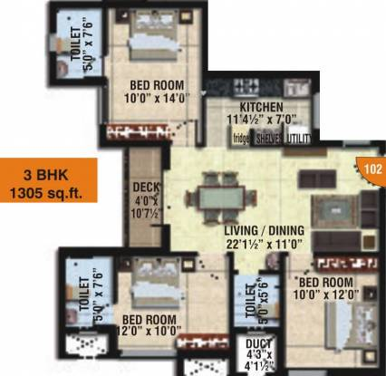 Sidharth Upscale (3BHK+3T (1,305 sq ft) Apartment 1305 sq ft)