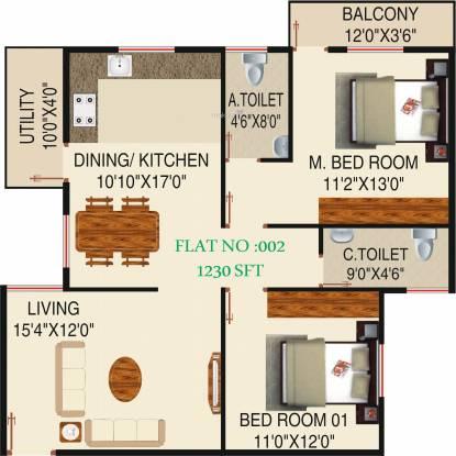 Honey Honey Dew (2BHK+2T (1,230 sq ft) Apartment 1230 sq ft)