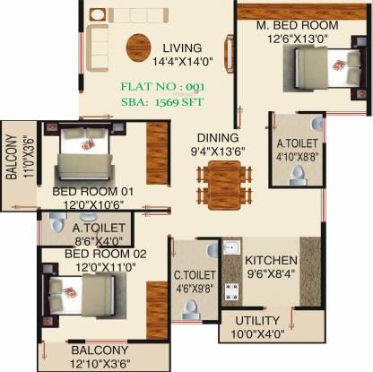 Honey Honey Dew (3BHK+3T (1,569 sq ft) Apartment 1569 sq ft)