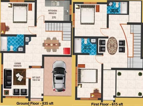 Nucleus Styles (3BHK+3T (1,450 sq ft) Villa 1450 sq ft)