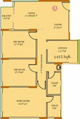 Ideal Residency (3BHK+2T (1,435 sq ft) Apartment 1435 sq ft)