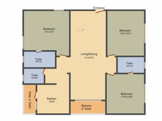 Sahiti Sri Vidhya Ambrosia (3BHK+3T (1,675 sq ft) Apartment 1675 sq ft)